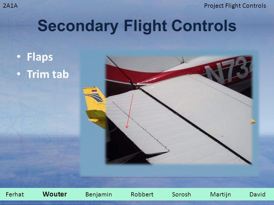 2A1AProject Flight Controls Secondary Flight Controls Flaps Trim tab Ferhat Wouter Benjamin Robbert Sorosh Martijn David.