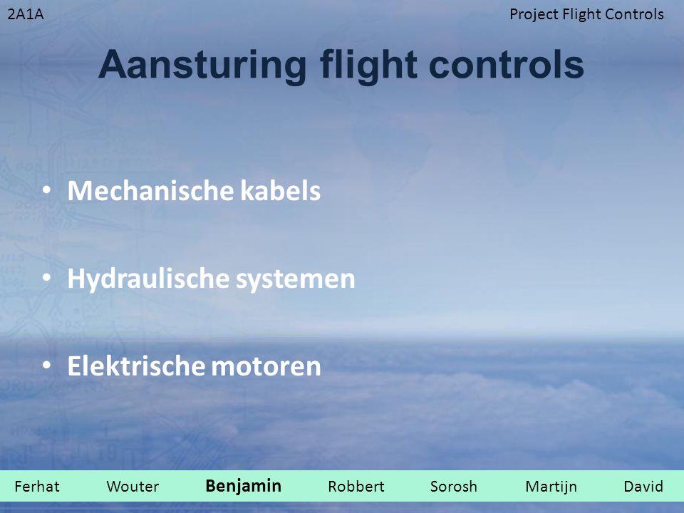 2A1AProject Flight Controls Aansturing flight controls Mechanische kabels Hydraulische systemen Elektrische motoren Ferhat Wouter Benjamin Robbert Sorosh Martijn David.