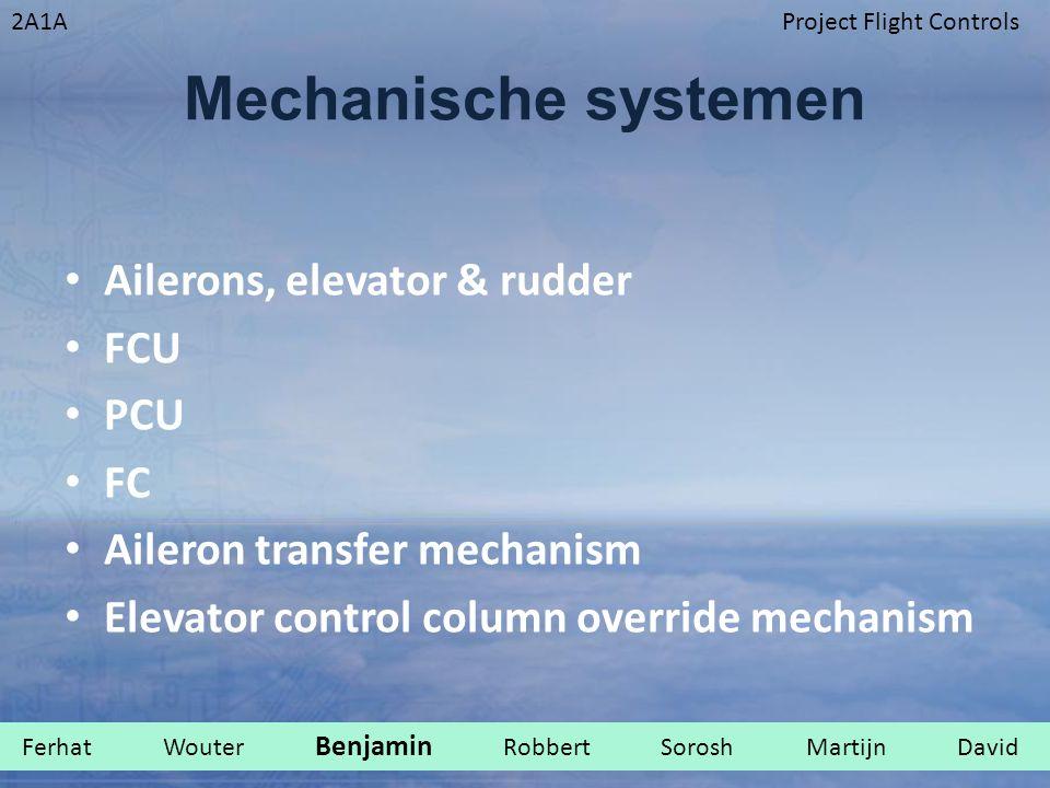2A1AProject Flight Controls Mechanische systemen Ailerons, elevator & rudder FCU PCU FC Aileron transfer mechanism Elevator control column override me