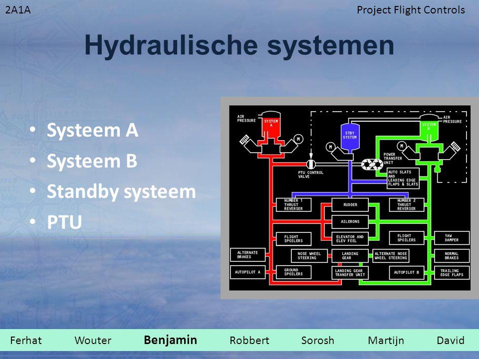2A1AProject Flight Controls Hydraulische systemen Systeem A Systeem B Standby systeem PTU Ferhat Wouter Benjamin Robbert Sorosh Martijn David.