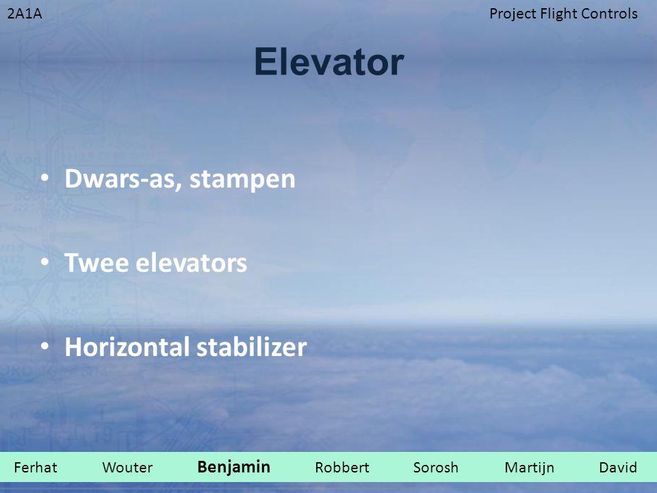 2A1AProject Flight Controls Elevator Dwars-as, stampen Twee elevators Horizontal stabilizer Ferhat Wouter Benjamin Robbert Sorosh Martijn David.