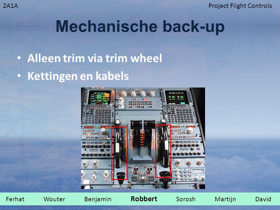 2A1AProject Flight Controls Mechanische back-up Alleen trim via trim wheel Kettingen en kabels Ferhat Wouter Benjamin Robbert Sorosh Martijn David.