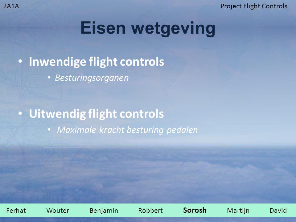 2A1AProject Flight Controls Eisen wetgeving Inwendige flight controls Besturingsorganen Uitwendig flight controls Maximale kracht besturing pedalen Fe