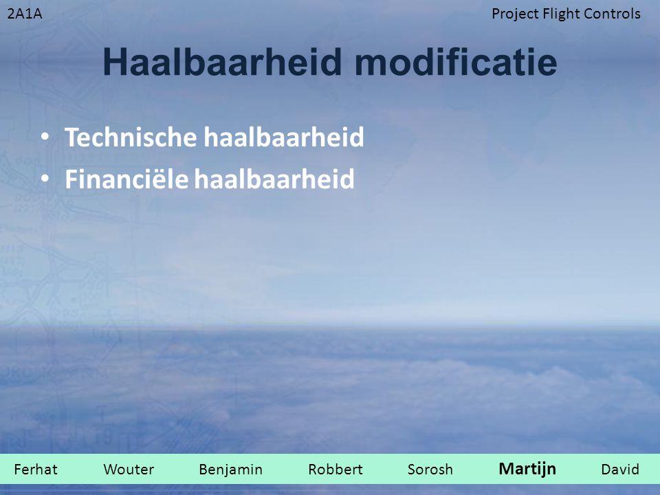 2A1AProject Flight Controls Haalbaarheid modificatie Technische haalbaarheid Financiële haalbaarheid Ferhat Wouter Benjamin Robbert Sorosh Martijn David.