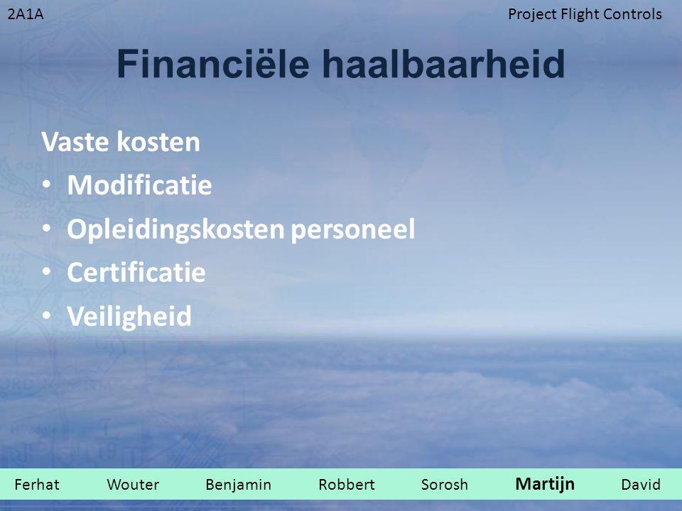 2A1AProject Flight Controls Financiële haalbaarheid Vaste kosten Modificatie Opleidingskosten personeel Certificatie Veiligheid Ferhat Wouter Benjamin Robbert Sorosh Martijn David.