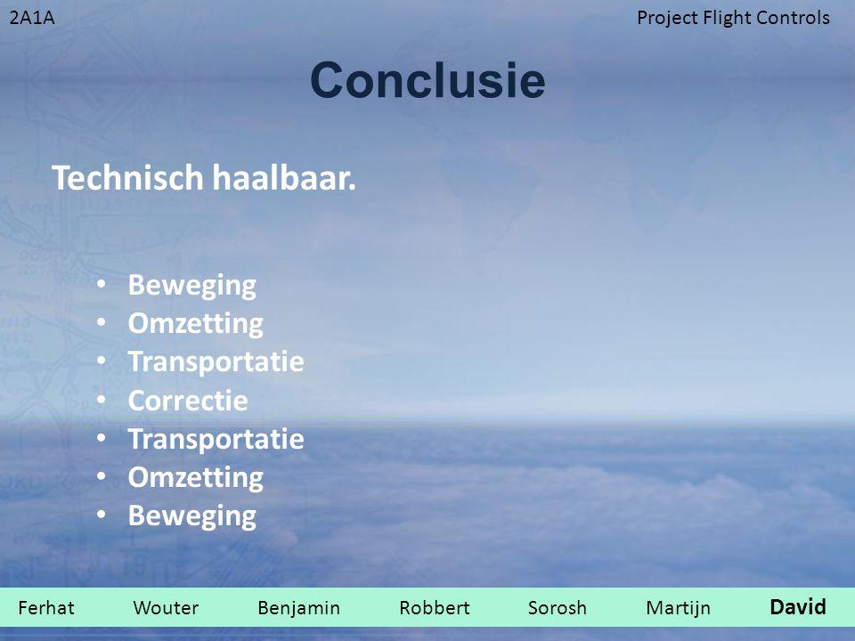 2A1AProject Flight Controls Conclusie Technisch haalbaar. Beweging Omzetting Transportatie Correctie Transportatie Omzetting Beweging Ferhat Wouter Be