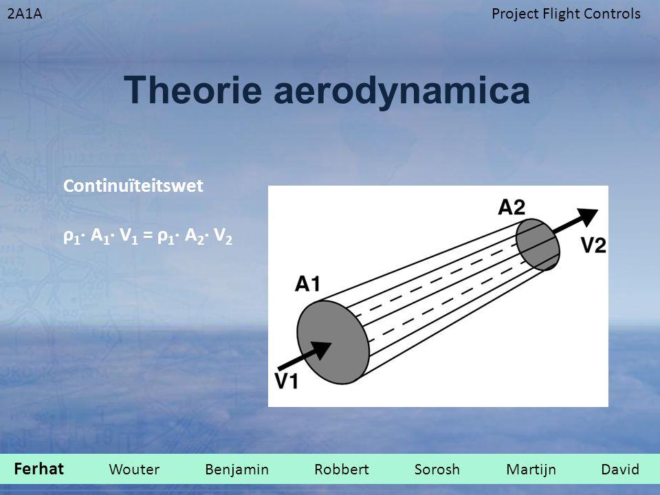 2A1AProject Flight Controls Theorie aerodynamica Continuïteitswet ρ 1 ∙ A 1 ∙ V 1 = ρ 1 ∙ A 2 ∙ V 2 Ferhat Wouter Benjamin Robbert Sorosh Martijn David.