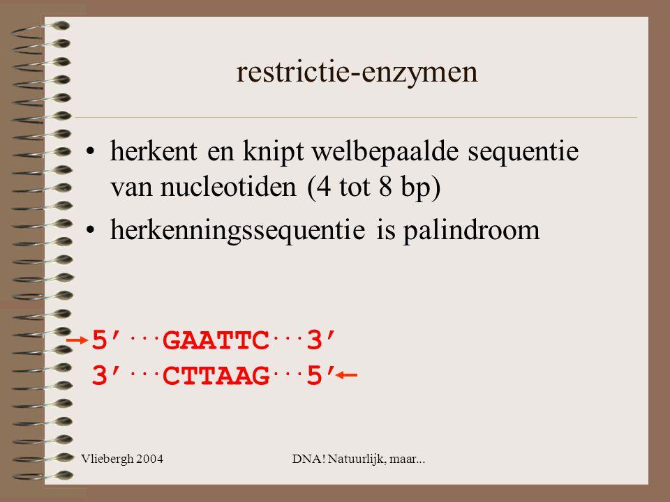 Vliebergh 2004DNA! Natuurlijk, maar... restrictie-enzymen herkent en knipt welbepaalde sequentie van nucleotiden (4 tot 8 bp) herkenningssequentie is