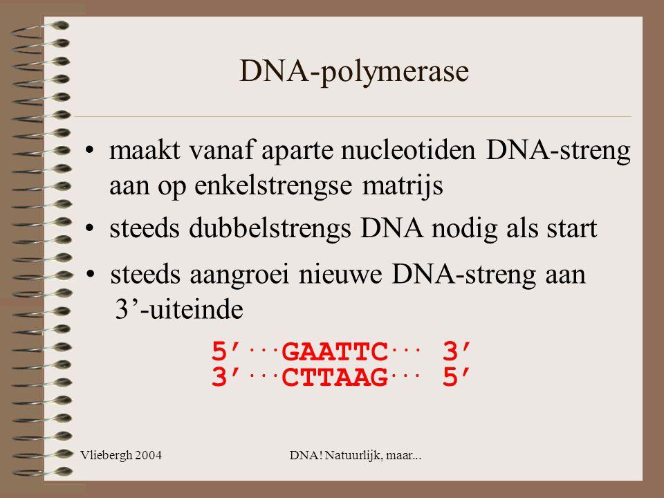Vliebergh 2004DNA! Natuurlijk, maar... DNA-polymerase maakt vanaf aparte nucleotiden DNA-streng aan op enkelstrengse matrijs steeds dubbelstrengs DNA