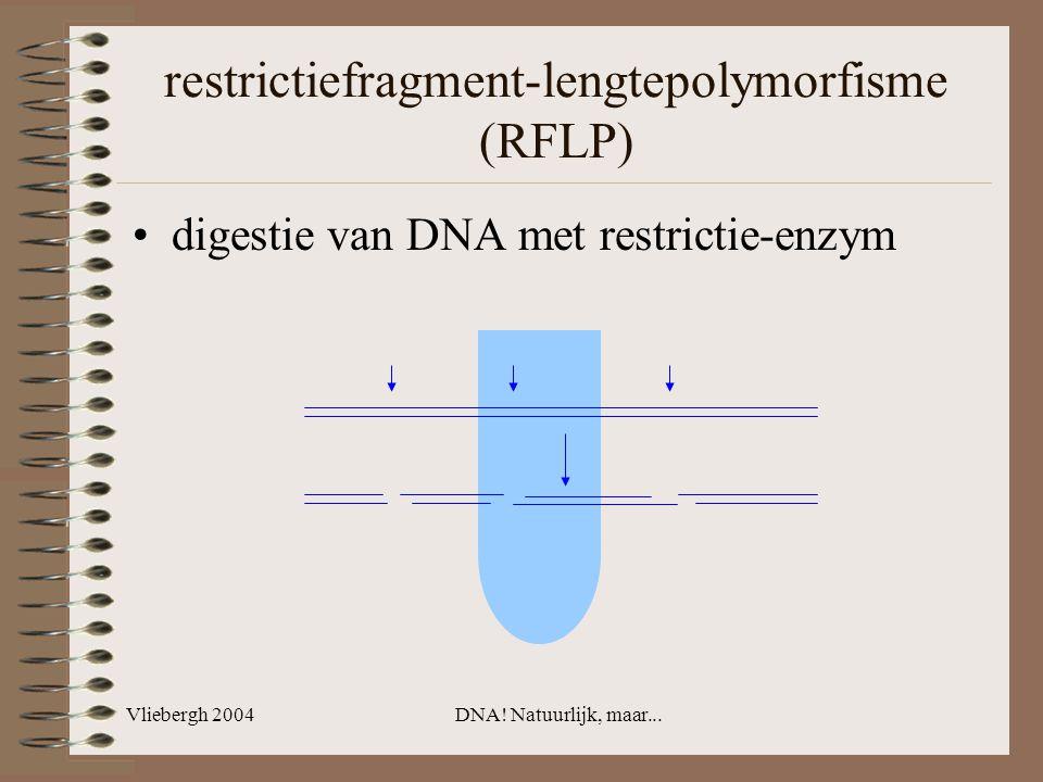 Vliebergh 2004DNA! Natuurlijk, maar... restrictiefragment-lengtepolymorfisme (RFLP) digestie van DNA met restrictie-enzym