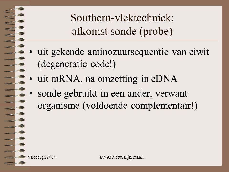Vliebergh 2004DNA! Natuurlijk, maar... Southern-vlektechniek: afkomst sonde (probe) uit gekende aminozuursequentie van eiwit (degeneratie code!) uit m