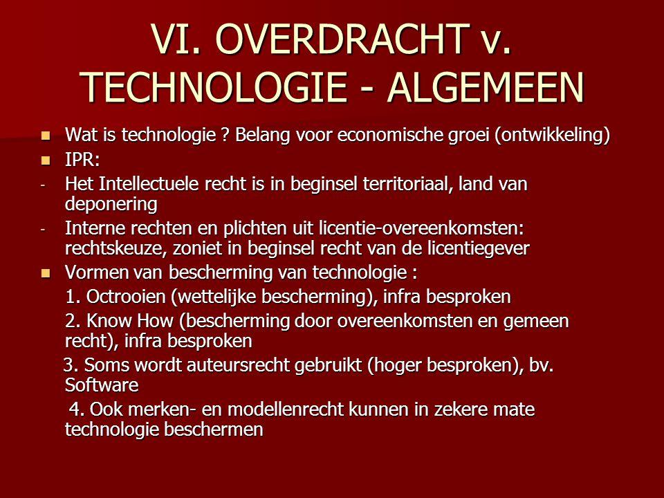 VI. OVERDRACHT v. TECHNOLOGIE - ALGEMEEN Wat is technologie ? Belang voor economische groei (ontwikkeling) Wat is technologie ? Belang voor economisch