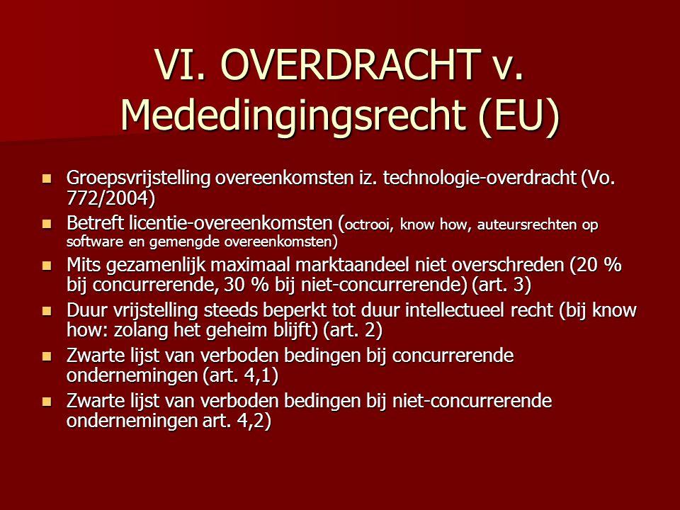VI. OVERDRACHT v. Mededingingsrecht (EU) Groepsvrijstelling overeenkomsten iz. technologie-overdracht (Vo. 772/2004) Groepsvrijstelling overeenkomsten