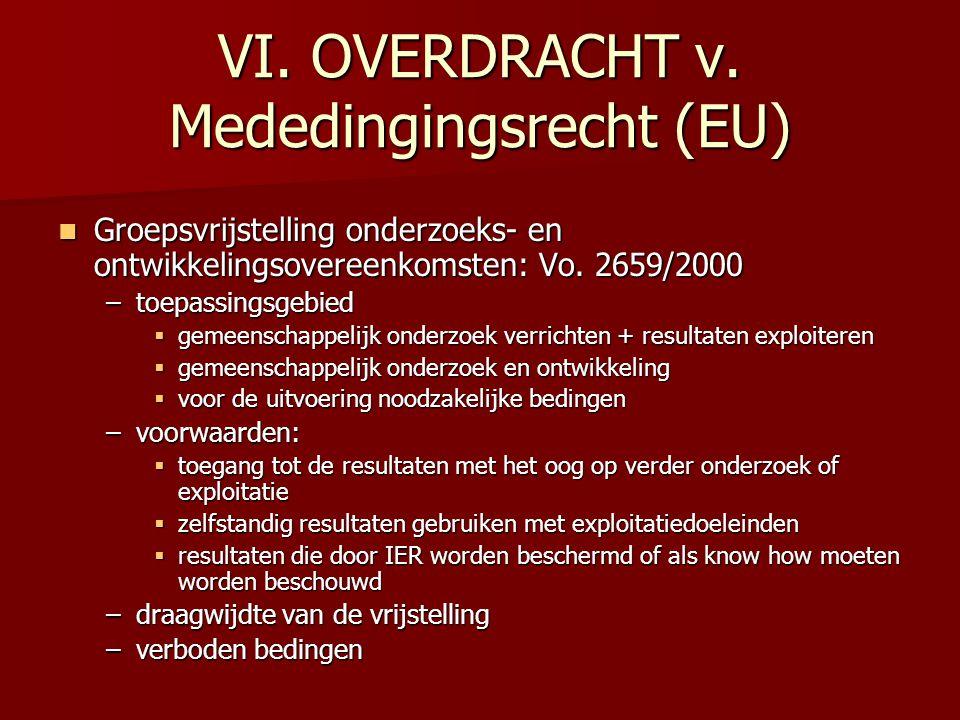 VI. OVERDRACHT v. Mededingingsrecht (EU) Groepsvrijstelling onderzoeks- en ontwikkelingsovereenkomsten: Vo. 2659/2000 Groepsvrijstelling onderzoeks- e