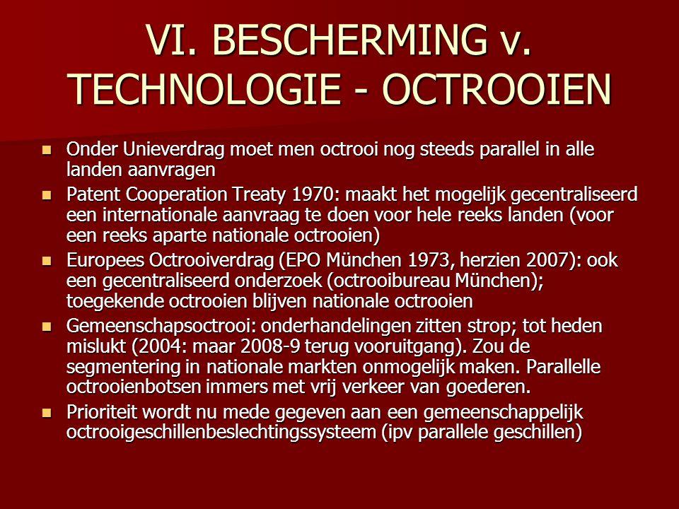 VI. BESCHERMING v. TECHNOLOGIE - OCTROOIEN Onder Unieverdrag moet men octrooi nog steeds parallel in alle landen aanvragen Onder Unieverdrag moet men
