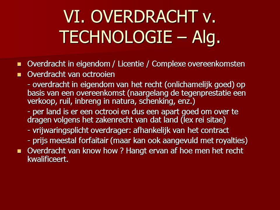 VI. OVERDRACHT v. TECHNOLOGIE – Alg. Overdracht in eigendom / Licentie / Complexe overeenkomsten Overdracht in eigendom / Licentie / Complexe overeenk