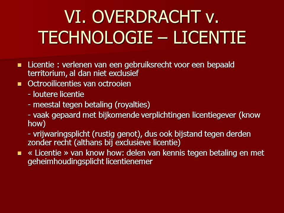 VI. OVERDRACHT v. TECHNOLOGIE – LICENTIE Licentie : verlenen van een gebruiksrecht voor een bepaald territorium, al dan niet exclusief Licentie : verl