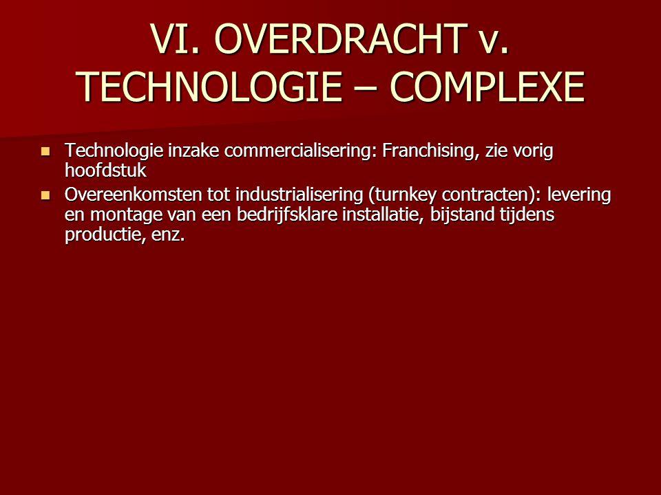VI. OVERDRACHT v. TECHNOLOGIE – COMPLEXE Technologie inzake commercialisering: Franchising, zie vorig hoofdstuk Technologie inzake commercialisering: