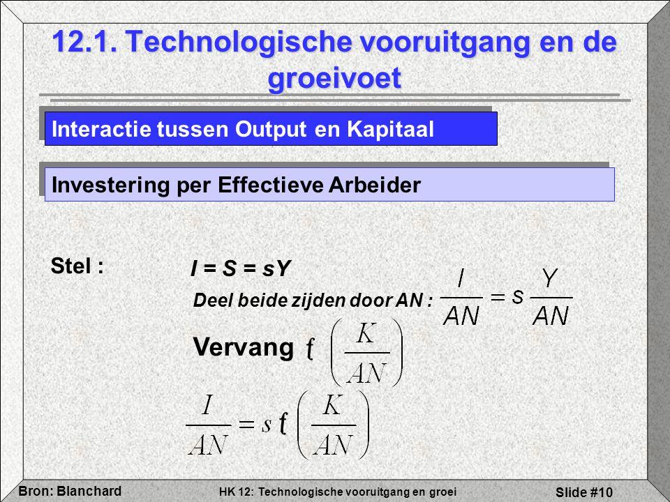 HK 12: Technologische vooruitgang en groei Bron: Blanchard Slide #10 12.1. Technologische vooruitgang en de groeivoet Interactie tussen Output en Kapi
