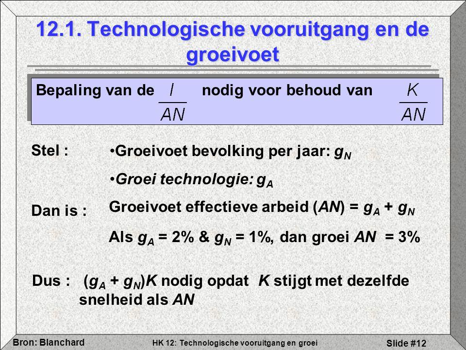 HK 12: Technologische vooruitgang en groei Bron: Blanchard Slide #12 12.1. Technologische vooruitgang en de groeivoet Bepaling van de nodig voor behou