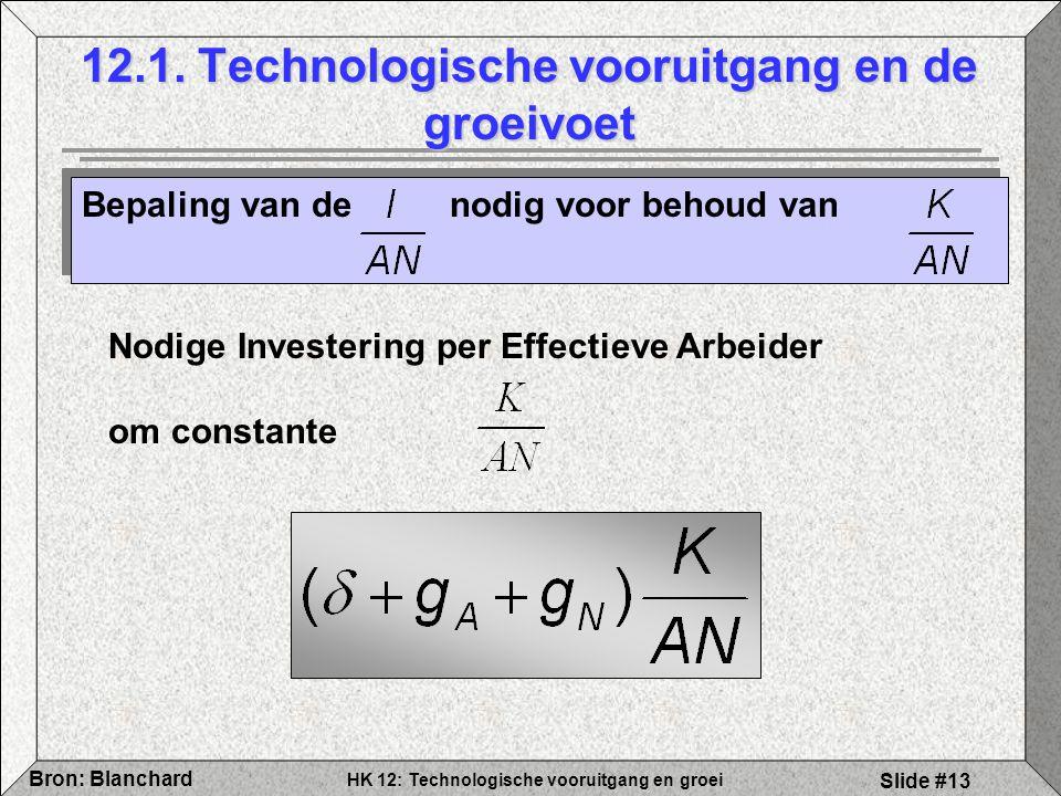 HK 12: Technologische vooruitgang en groei Bron: Blanchard Slide #13 12.1. Technologische vooruitgang en de groeivoet Bepaling van de nodig voor behou