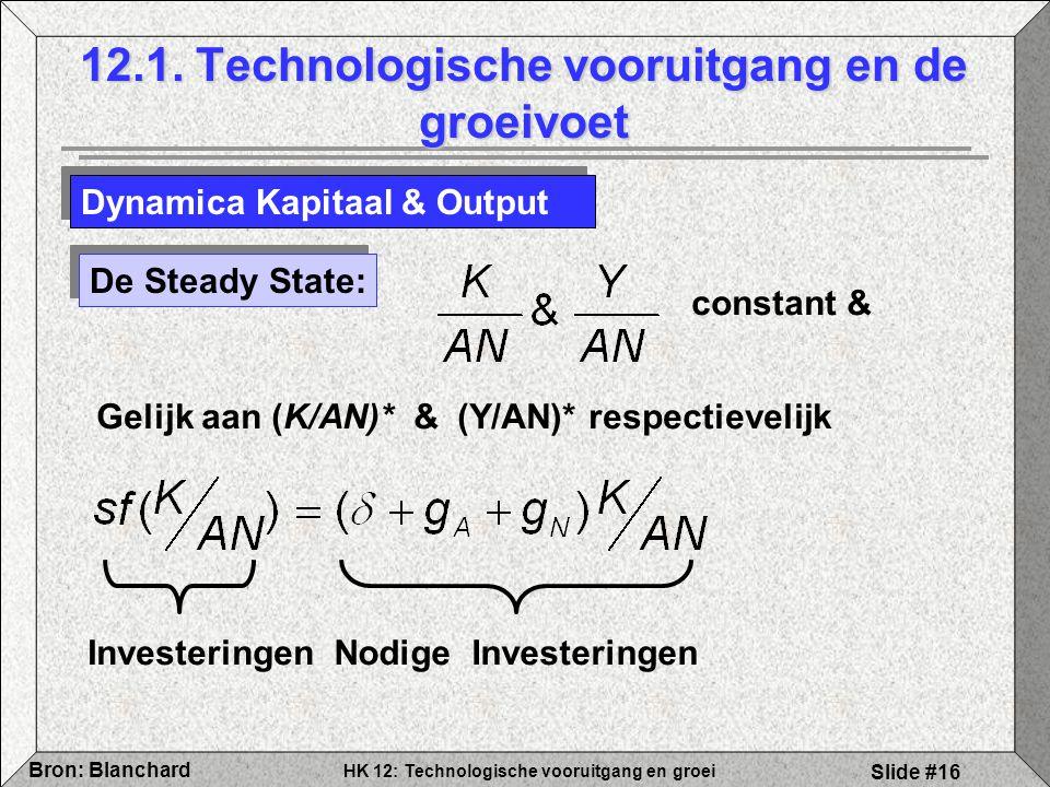 HK 12: Technologische vooruitgang en groei Bron: Blanchard Slide #16 12.1. Technologische vooruitgang en de groeivoet Dynamica Kapitaal & Output De St