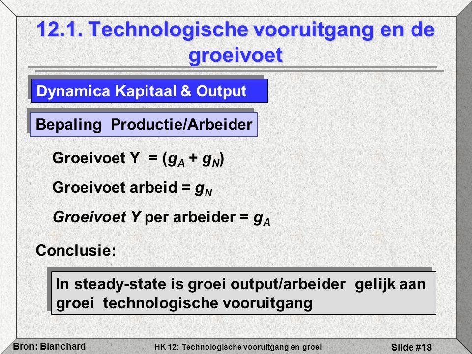 HK 12: Technologische vooruitgang en groei Bron: Blanchard Slide #18 12.1. Technologische vooruitgang en de groeivoet Dynamica Kapitaal & Output Bepal