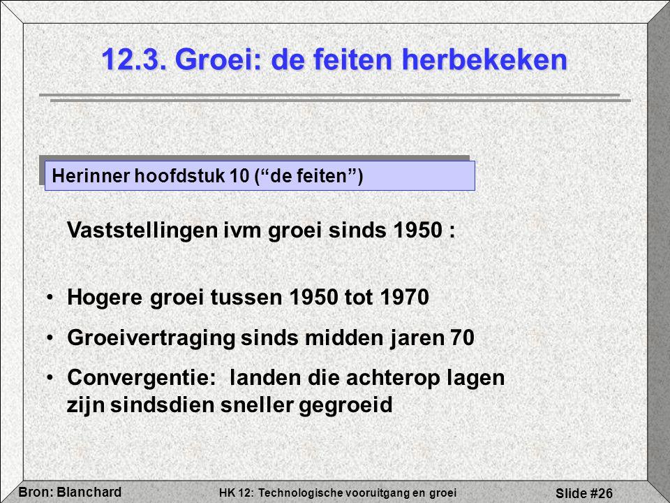 """HK 12: Technologische vooruitgang en groei Bron: Blanchard Slide #26 12.3. Groei: de feiten herbekeken Herinner hoofdstuk 10 (""""de feiten"""") Vaststellin"""