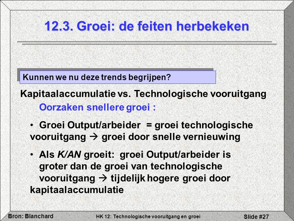 HK 12: Technologische vooruitgang en groei Bron: Blanchard Slide #27 12.3. Groei: de feiten herbekeken Kunnen we nu deze trends begrijpen? Oorzaken sn