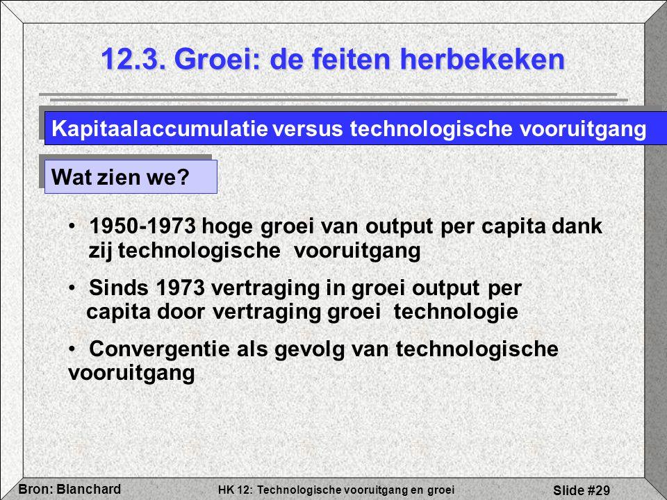 HK 12: Technologische vooruitgang en groei Bron: Blanchard Slide #29 12.3. Groei: de feiten herbekeken Wat zien we? 1950-1973 hoge groei van output pe