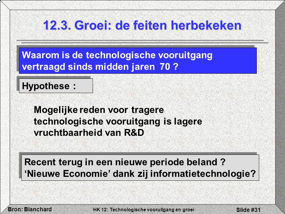 HK 12: Technologische vooruitgang en groei Bron: Blanchard Slide #31 12.3. Groei: de feiten herbekeken Waarom is de technologische vooruitgang vertraa