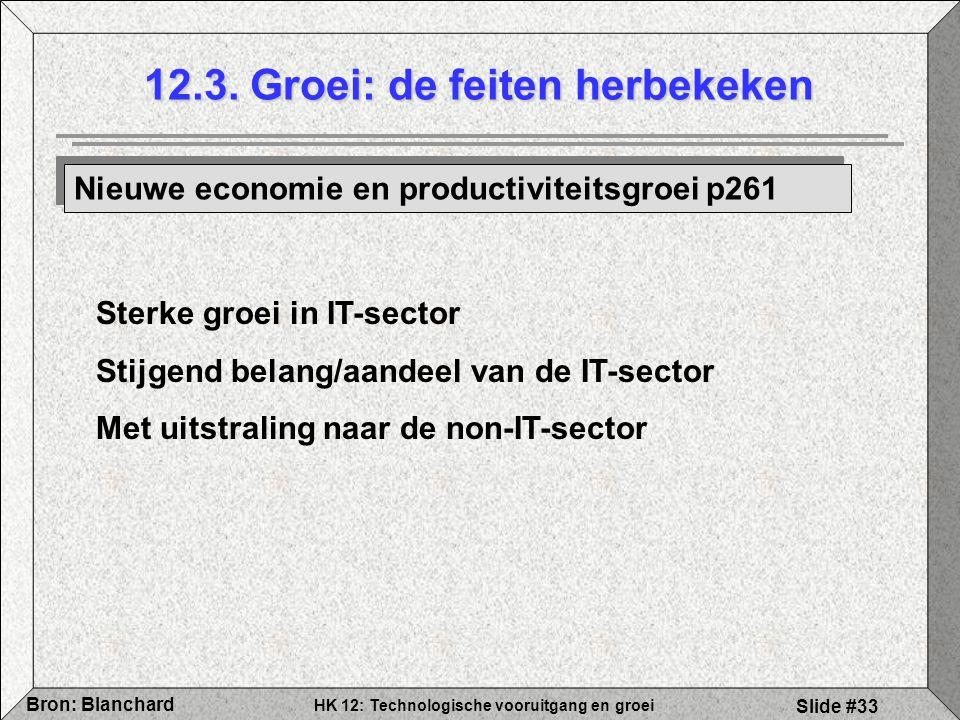 HK 12: Technologische vooruitgang en groei Bron: Blanchard Slide #33 12.3. Groei: de feiten herbekeken Nieuwe economie en productiviteitsgroei p261 St