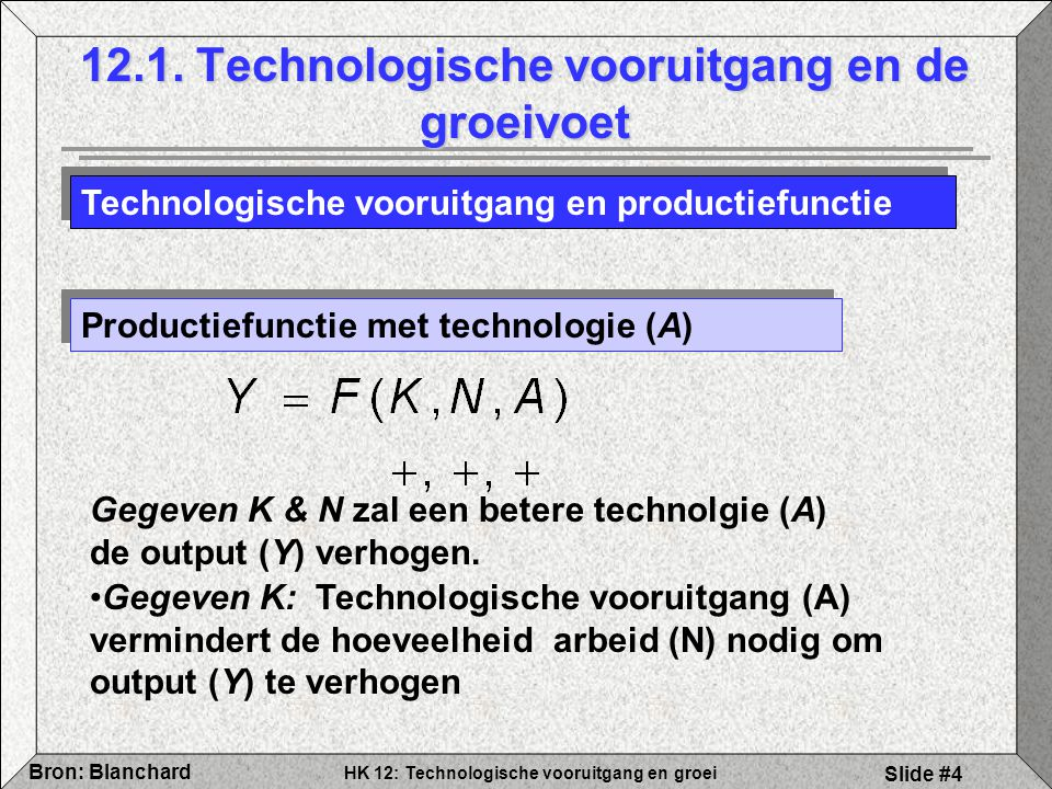 HK 12: Technologische vooruitgang en groei Bron: Blanchard Slide #4 12.1. Technologische vooruitgang en de groeivoet Technologische vooruitgang en pro