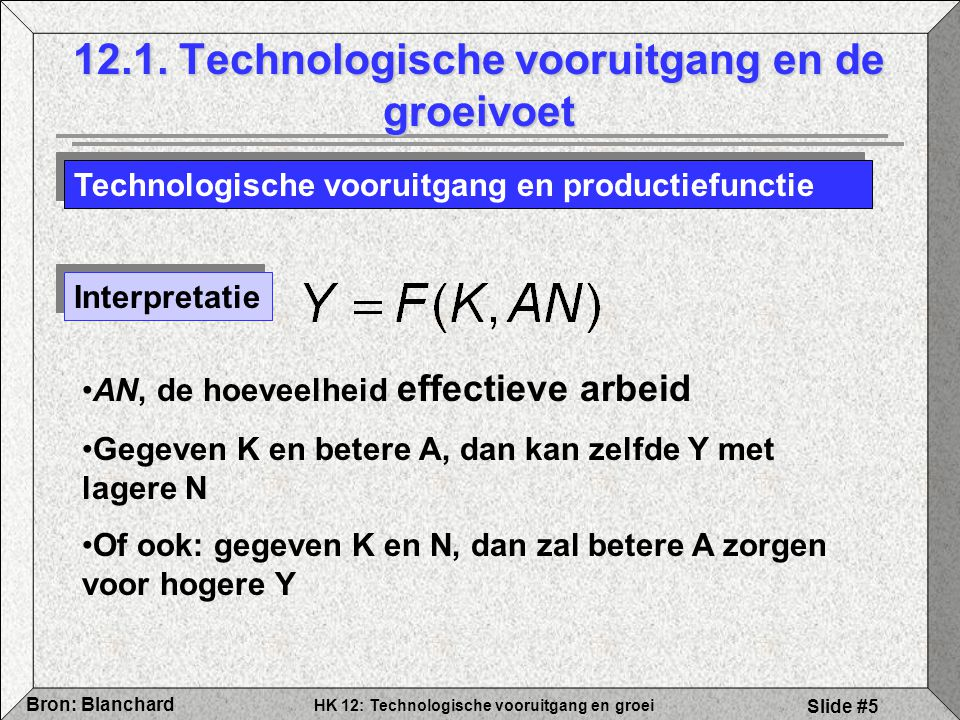 HK 12: Technologische vooruitgang en groei Bron: Blanchard Slide #5 12.1. Technologische vooruitgang en de groeivoet Technologische vooruitgang en pro