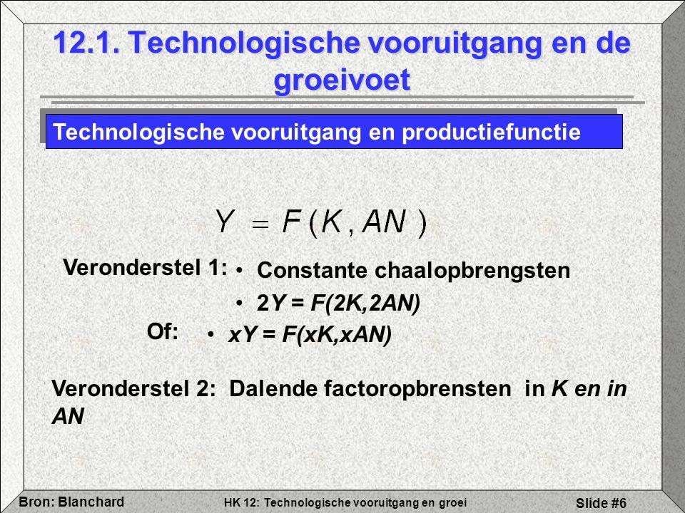 HK 12: Technologische vooruitgang en groei Bron: Blanchard Slide #6 12.1. Technologische vooruitgang en de groeivoet Technologische vooruitgang en pro