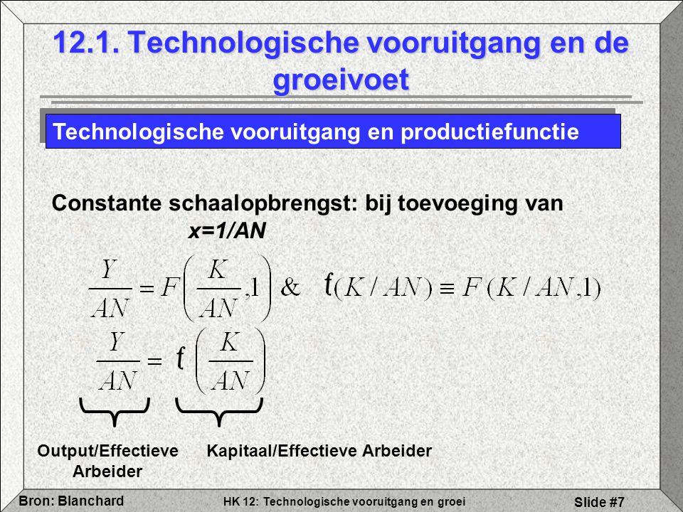 HK 12: Technologische vooruitgang en groei Bron: Blanchard Slide #7 12.1. Technologische vooruitgang en de groeivoet Technologische vooruitgang en pro