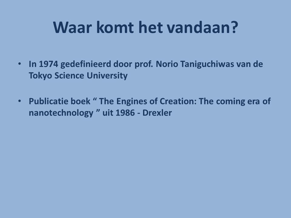 """Waar komt het vandaan? In 1974 gedefinieerd door prof. Norio Taniguchiwas van de Tokyo Science University Publicatie boek """" The Engines of Creation: T"""
