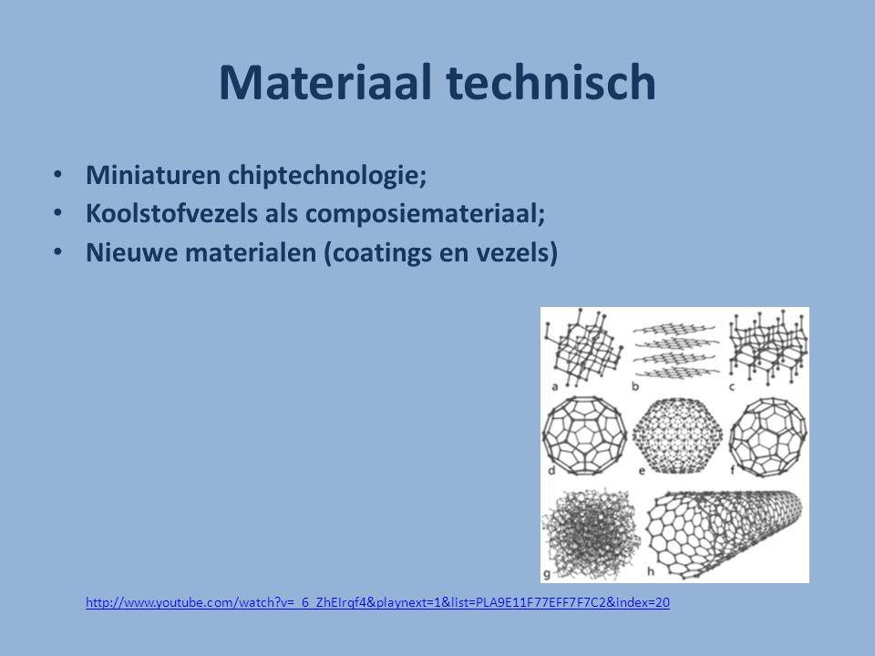 Materiaal technisch Miniaturen chiptechnologie; Koolstofvezels als composiemateriaal; Nieuwe materialen (coatings en vezels) http://www.youtube.com/wa