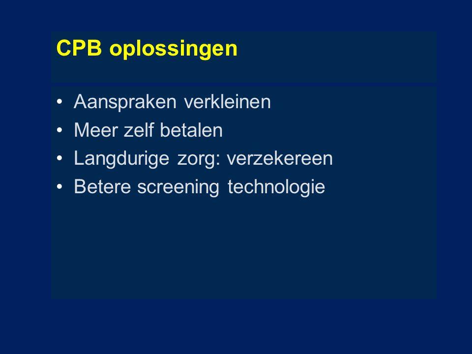 CPB oplossingen Aanspraken verkleinen Meer zelf betalen Langdurige zorg: verzekereen Betere screening technologie