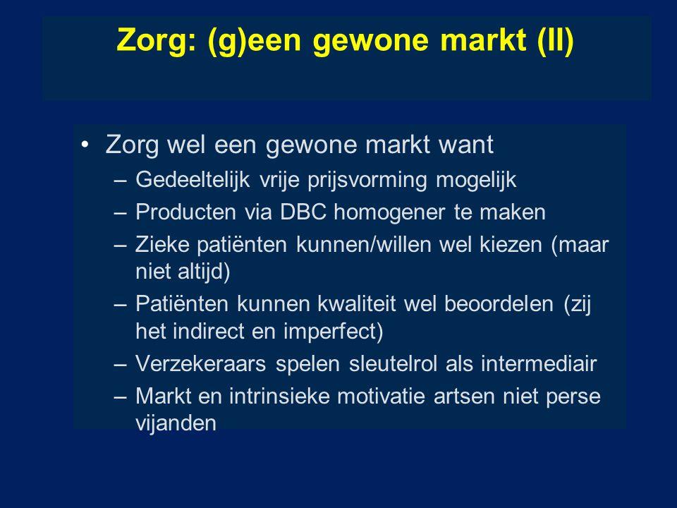 Zorg: (g)een gewone markt (II) Zorg wel een gewone markt want –Gedeeltelijk vrije prijsvorming mogelijk –Producten via DBC homogener te maken –Zieke p