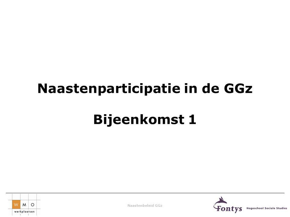 Naastenbeleid GGz Naastenparticipatie in de GGz Bijeenkomst 1