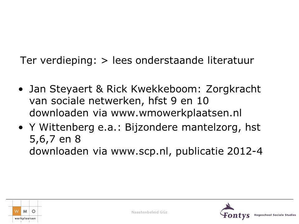 Naastenbeleid GGz Ter verdieping: > lees onderstaande literatuur Jan Steyaert & Rick Kwekkeboom: Zorgkracht van sociale netwerken, hfst 9 en 10 downloaden via www.wmowerkplaatsen.nl Y Wittenberg e.a.: Bijzondere mantelzorg, hst 5,6,7 en 8 downloaden via www.scp.nl, publicatie 2012-4