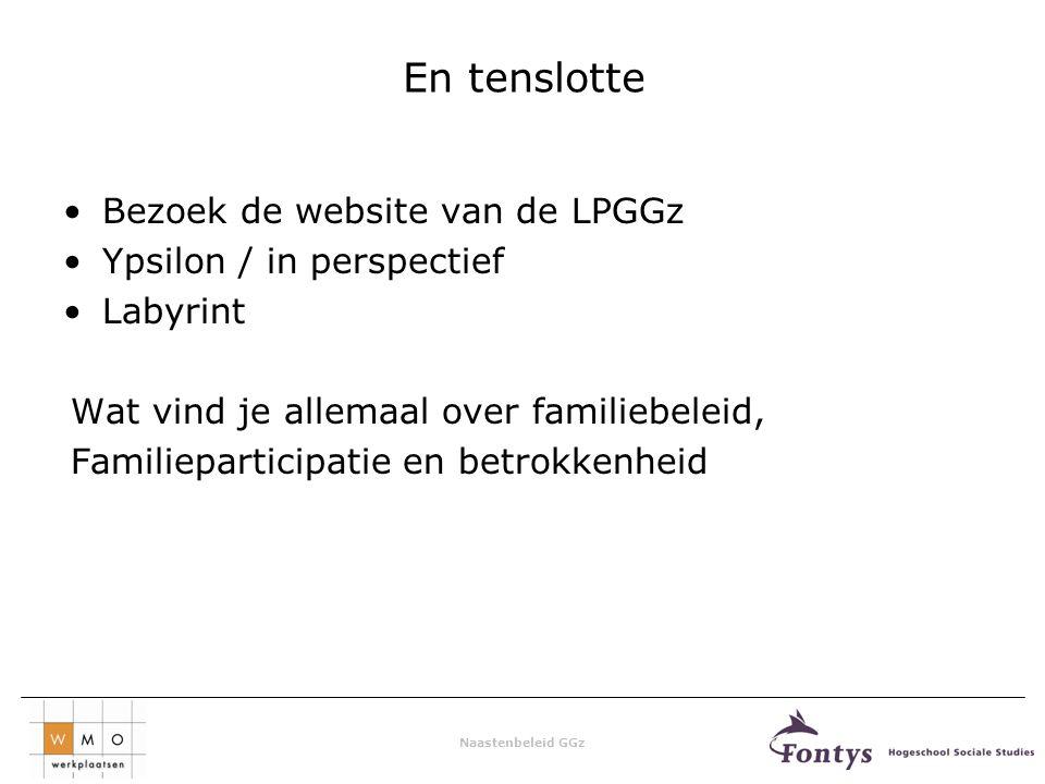 Naastenbeleid GGz En tenslotte Bezoek de website van de LPGGz Ypsilon / in perspectief Labyrint Wat vind je allemaal over familiebeleid, Familieparticipatie en betrokkenheid