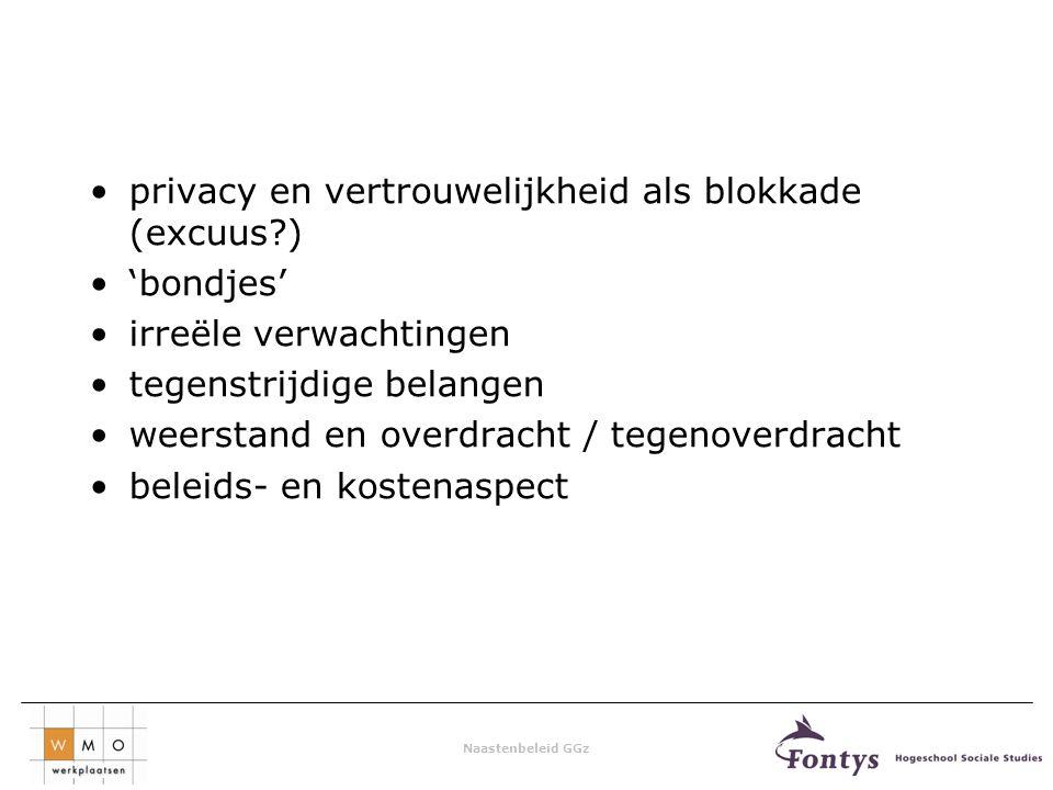 Naastenbeleid GGz privacy en vertrouwelijkheid als blokkade (excuus?) 'bondjes' irreële verwachtingen tegenstrijdige belangen weerstand en overdracht