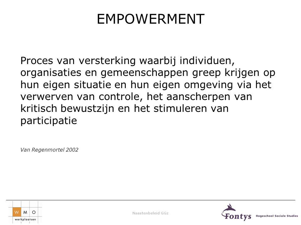 Naastenbeleid GGz EMPOWERMENT Proces van versterking waarbij individuen, organisaties en gemeenschappen greep krijgen op hun eigen situatie en hun eigen omgeving via het verwerven van controle, het aanscherpen van kritisch bewustzijn en het stimuleren van participatie Van Regenmortel 2002
