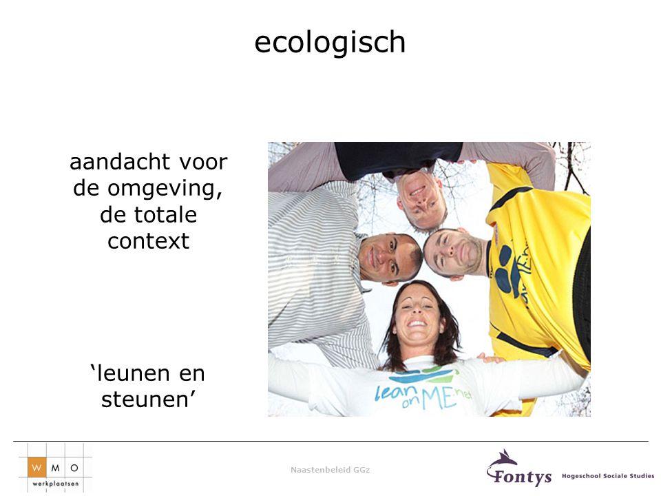 Naastenbeleid GGz ecologisch aandacht voor de omgeving, de totale context 'leunen en steunen'