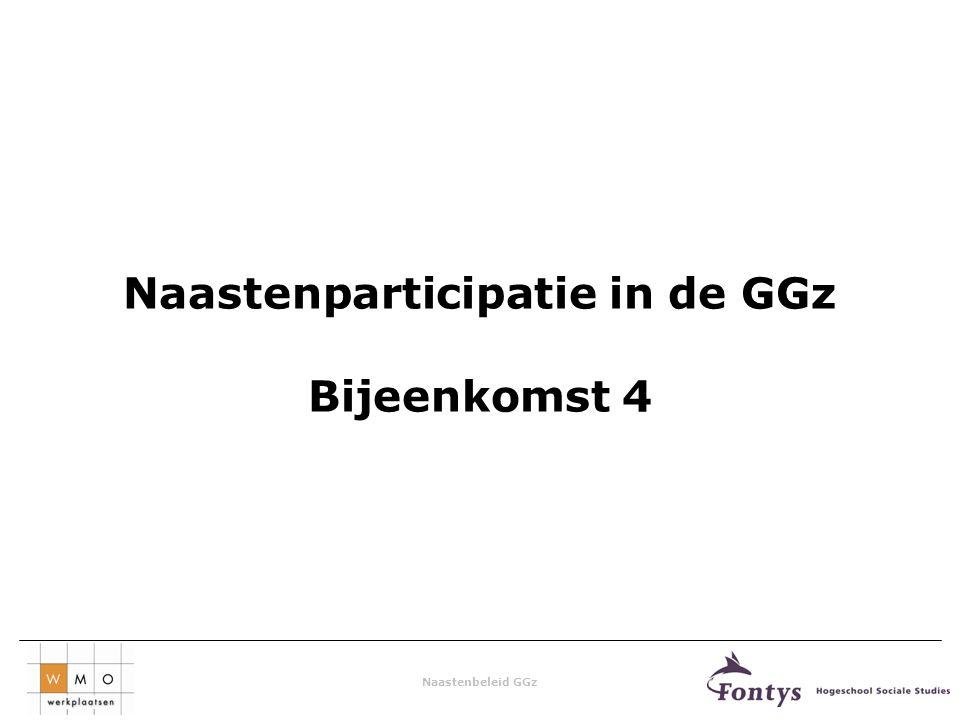 Naastenbeleid GGz Naastenparticipatie in de GGz Bijeenkomst 4