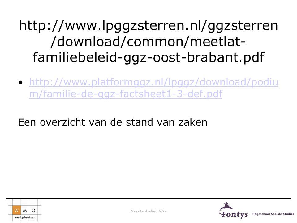 Naastenbeleid GGz http://www.lpggzsterren.nl/ggzsterren /download/common/meetlat- familiebeleid-ggz-oost-brabant.pdf http://www.platformggz.nl/lpggz/download/podiu m/familie-de-ggz-factsheet1-3-def.pdfhttp://www.platformggz.nl/lpggz/download/podiu m/familie-de-ggz-factsheet1-3-def.pdf Een overzicht van de stand van zaken