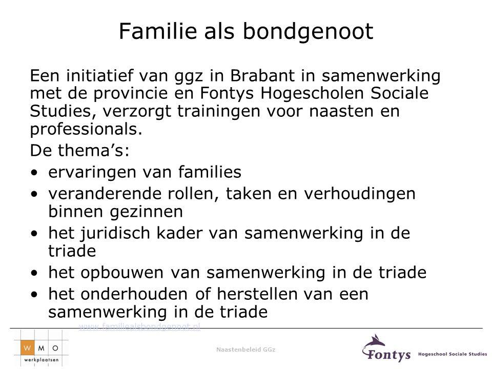 Naastenbeleid GGz Familie als bondgenoot Een initiatief van ggz in Brabant in samenwerking met de provincie en Fontys Hogescholen Sociale Studies, verzorgt trainingen voor naasten en professionals.
