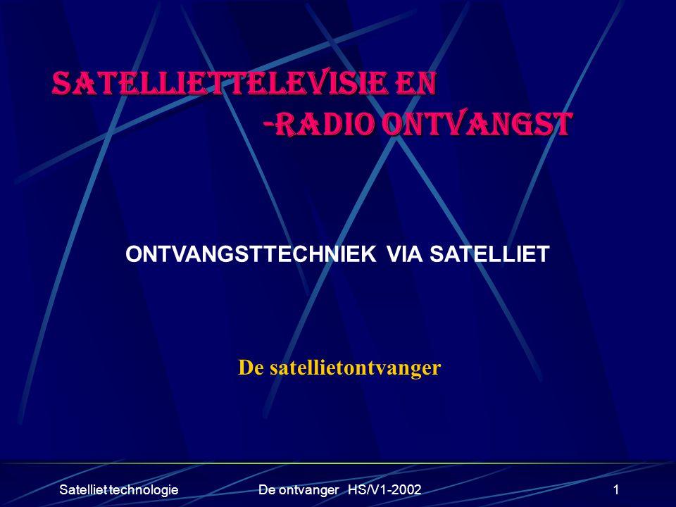 Satelliet technologieDe ontvanger HS/V1-20021 SATELLIETTELEVISIE EN -RADIO ONTVANGST -RADIO ONTVANGST ONTVANGSTTECHNIEK VIA SATELLIET De satellietontv